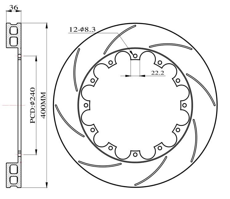Tarcze hamulcowe nacinane do zestawu Big Brake 400mm 2011 - GRUBYGARAGE - Sklep Tuningowy